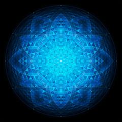 complex deep blue geometric mandala on black background, sacred geometry, flower of life, vector
