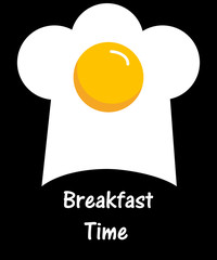 Scrambled eggs and cook cap on a black background with the words breakfast time. Vector illustration.