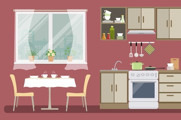 Kitchen in red color. There is a beige furniture, a stove, a table with chairs, a window and other objects in the picture. Vector flat illustration
