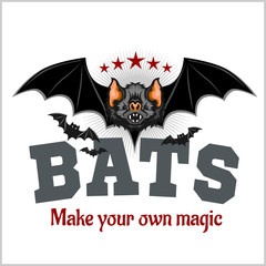 Bats - vector illustration and inspirational lettering.