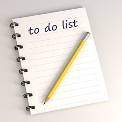3d render of to do list