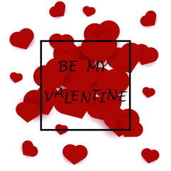 Be my valentine card with red hearts