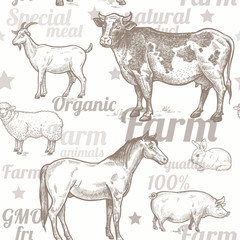 Seamless pattern with farm animals.