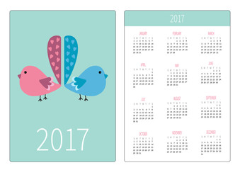Pocket calendar 2017 year. Week starts Sunday. Flat design Vertical orientation Template. Two birds with heart tails.
