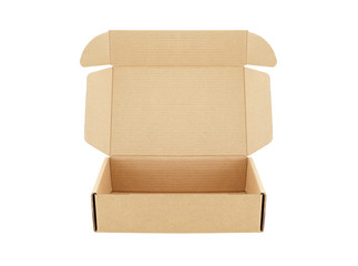 carton box open empty isolated on white background, for postal delivery
