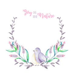 Illustration, wreath with watercolor cute bird, purple forest plants, hand drawn isolated on a white background, invitation, greeting card