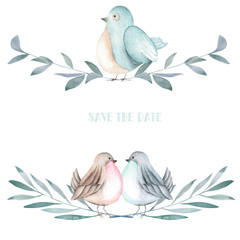 Illustration of the watercolor cute birds on the branches, hand drawn isolated on a white background