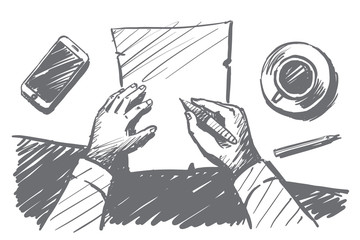Vector hand drawn work time concept sketch with businessman hands above desktop making notes on paper notebook