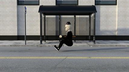 Clown fährt unsichtbares Auto