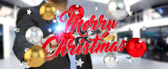 Businessman touching floating christmas message with his finger