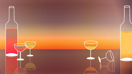 Wine and Wine Glasses on Sunset Background - Vector Illustration