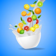 Bowl of healthy fresh fruits splash of milk. Vector illustration