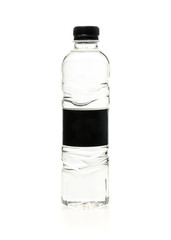Soda water plastic bottle with blank label. Isolated on white