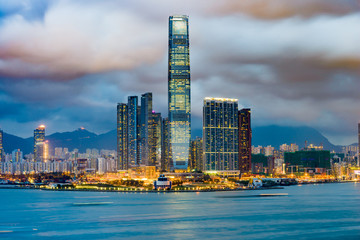 Hong Kong, China Cityscape of Kowloon from across Victoria Harbor.