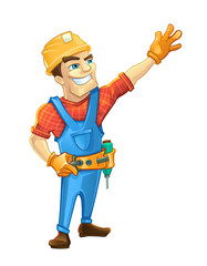 Handyman, builder in helmet pointing to the top.