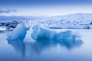 The Jokulsarlon glacier lagoon in Iceland during a bright summer night