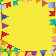 celebrate frame of festive flags on yellow background