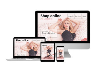 Isolated responsive devices displaying lingerie online shop