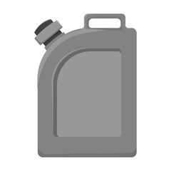 Oil jerrycan icon in monochrome style isolated on white background. Oil industry symbol stock vector illustration.