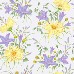 Seamless pattern with yellow chamomile flowers, blue bluebells flowers and oat. Rustic floral background. Vintage vector botanical illustration in watercolor style.