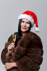 Woman in coat with champagne