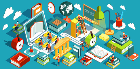 Online education Isometric flat design. The concept of learning and reading books in the library and in the classroom. University studies. Illustration