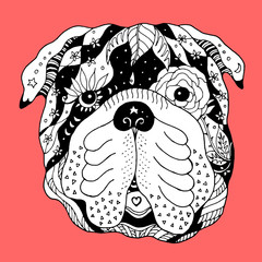big bulldog sugar skull head, cute dog day of the dead, vector