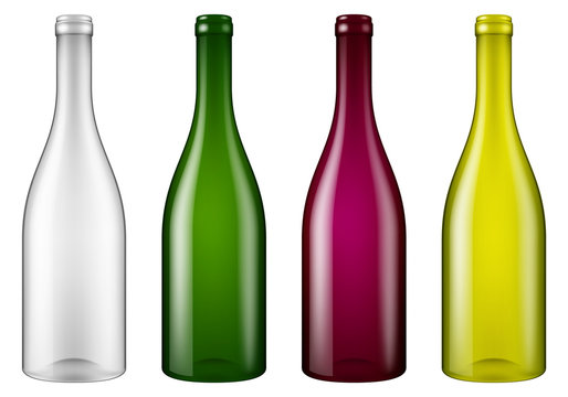 Set of four realistic looking empty wine bottles. Vector illustration.