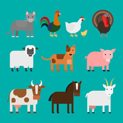 Farm animals cute colorful icons on blue background. Vector illustration