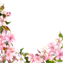 Floral greeting card. White, pink cherry sakura flowers. Watercolor