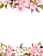 Pink flowers - apple, cherry blossom. Floral frame for postcard. Watercolor