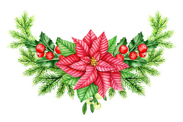 Christmas wreath. Holly Berry, Red Poinsettia and Pine Brunches Border. Christmas Symbols. Watercolor illustration