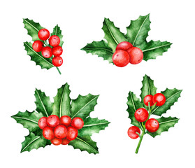 Holly Berry Brunches. Christmas wreath. Christmas Symbols. Watercolor illustration