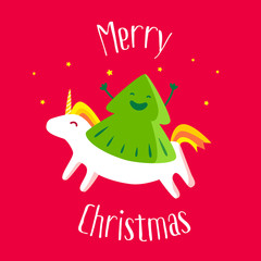 Merry Christmas card with fun Christmas tree and unicorn on red background. Vector illustration.