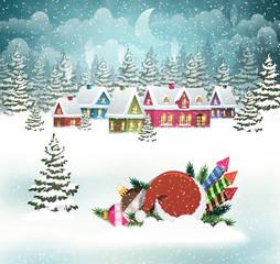 Christmas winter village scene