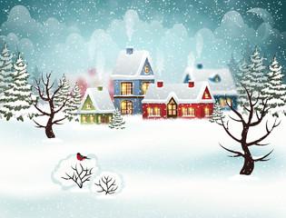 Winter village. Christmas holidays