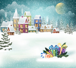Winter village and Christmas presents
