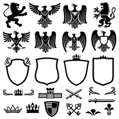 Family coat of arms vector elements for heraldic royal emblems