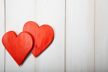 Heart on a white wooden background