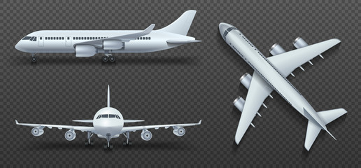 Aircraft, airplane, airliner in different point of view vector set