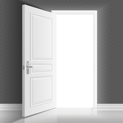 Open white entrance door. Business success vector concept background