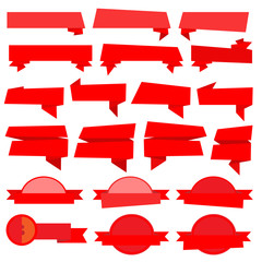 Red Ribbons Banners collection vector