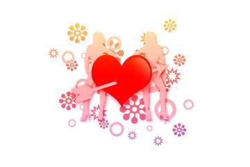 Abstract heart on white background
