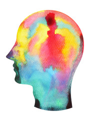 human head, chakra power color colorful abstract thought, world, universe inside your mind watercolor painting