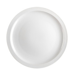 Empty white plate isolated on white background, top view