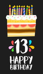 Happy Birthday cake card 13 thirteen year party