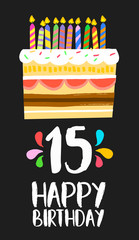 Happy Birthday cake card 15 fifteen year party