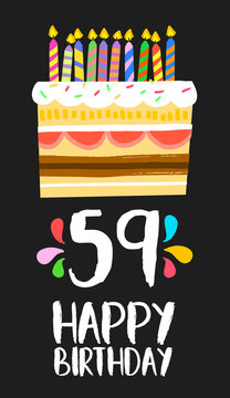 Happy Birthday card 59 fifty nine year cake