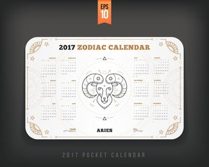 Aries 2017 year zodiac calendar pocket size horizontal layout White color design style vector concept illustration