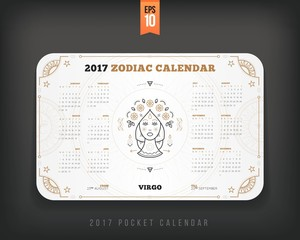 Virgo 2017 year zodiac calendar pocket size horizontal layout White color design style vector concept illustration